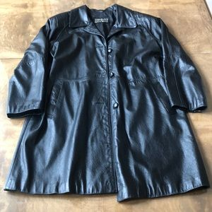 Neiman Marcus Black Leather Swing Jacket Size 8